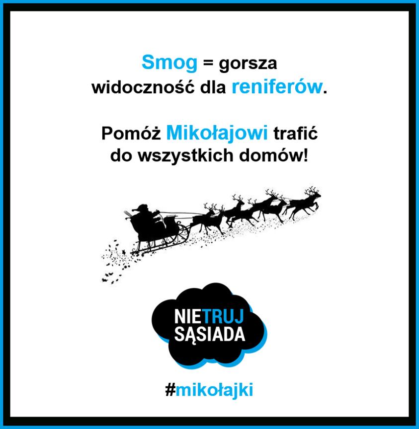 Smog to gorsza widoczność dla reniferów świętego Mikołaja