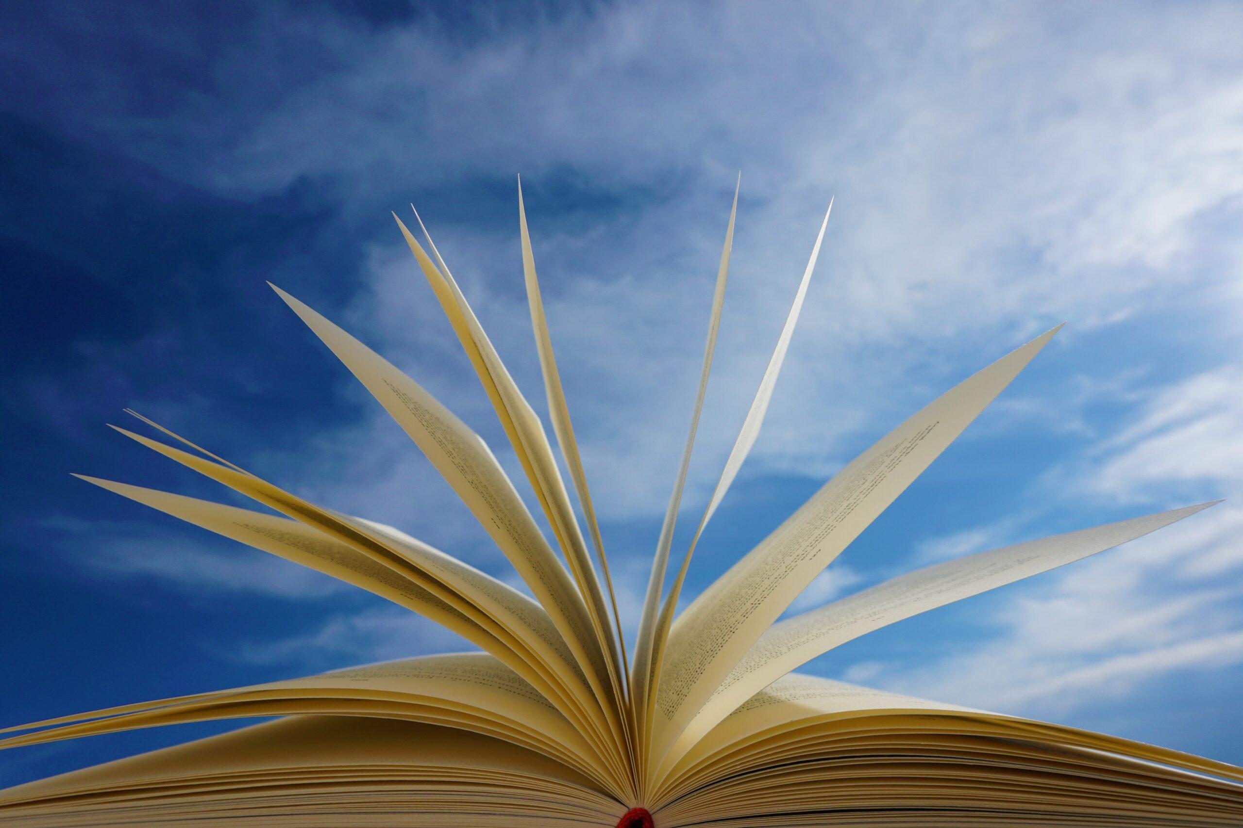 Fotografia przedstawiająca kartkowanie książki na tle nieba