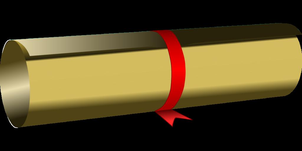 Obraz graficzny przedstawiający zrolowane świadectwo.
