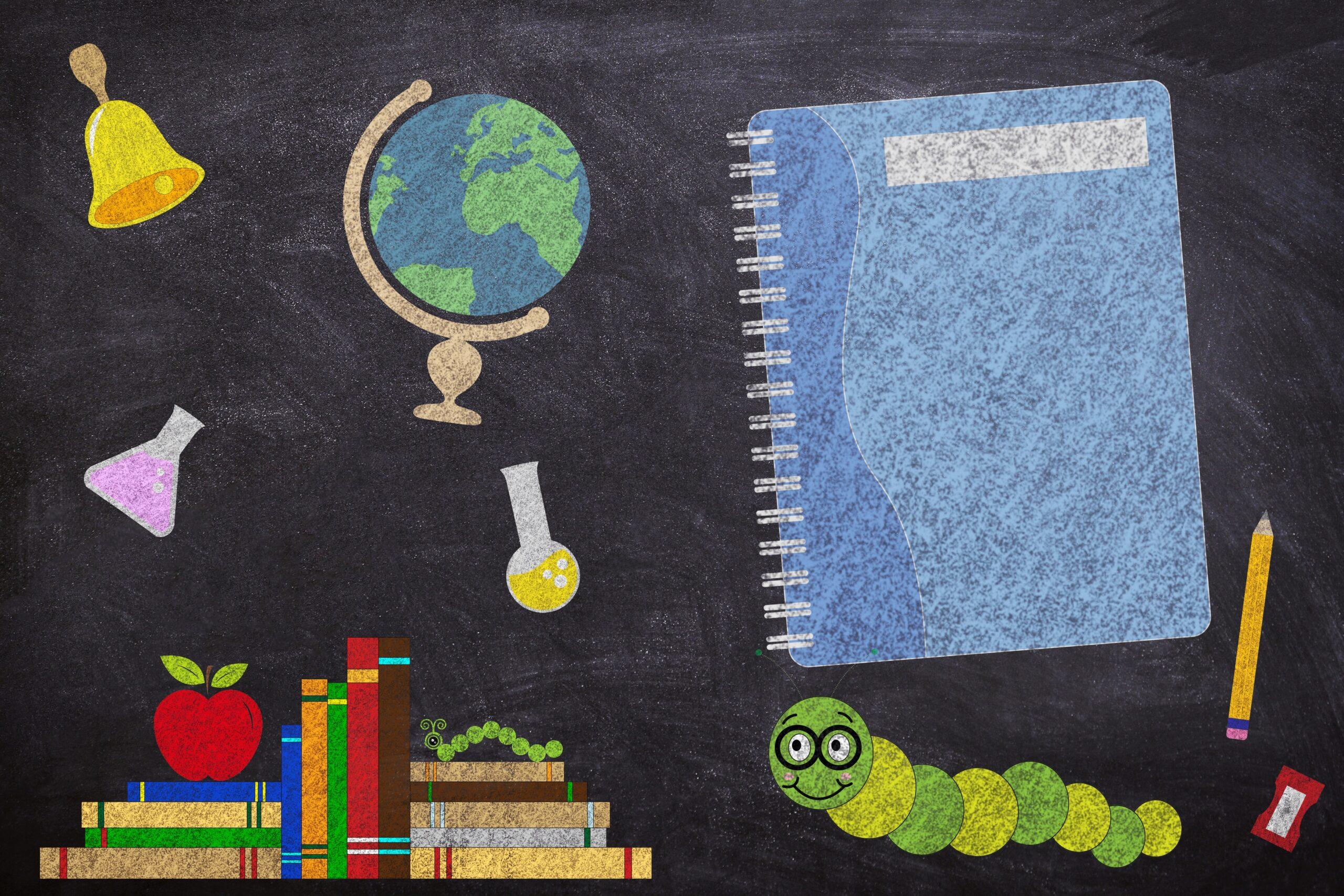 Grafika ze szkolnymi akcesoriami na powitanie nowego roku szkolnego